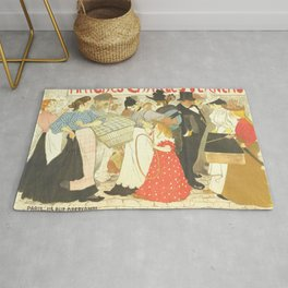 """Théophile Steinlen """"The Street (La rue), poster for the printer Charles Verneau"""" Rug"""