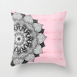 Artistic Boho Hand Drawn Mandala on Pink Tie Dye Throw Pillow