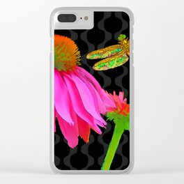 Flower Pop, floral Pop Art Echinacea, dragonfly Clear iPhone Case