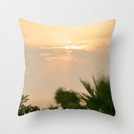 cloudy sky in the oasis Throw Pillow