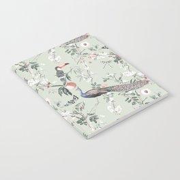 Oriental Peacock Toucan Floral Pattern Notebook