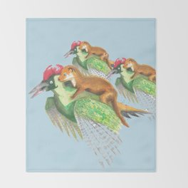 Weasel Riding Woodpecker Gang on Blue  Throw Blanket