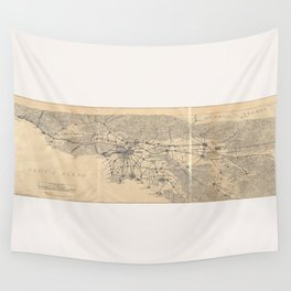 Vintage 1915 Los Angeles Area Map Wall Tapestry