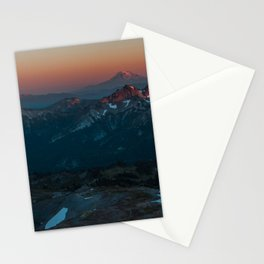 Mount Hood sunset from Mount Rainier Stationery Cards
