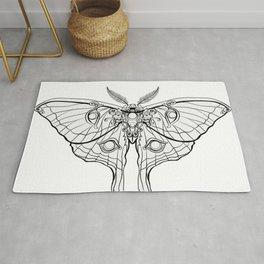 Art Nouveau Moth (white background) Rug