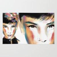 audrey hepburn Area & Throw Rugs featuring Audrey Hepburn by caffeboy