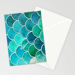 Aqua Mermaid Teal Tile Stationery Cards