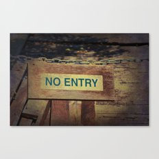 No Entry sign hanging on a chain Canvas Print