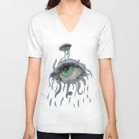 pain V-neck T-shirts featuring pain by Alyxka Pro