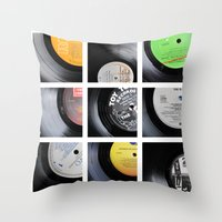 vinyl Throw Pillows featuring Vinyl by Kitsmumma