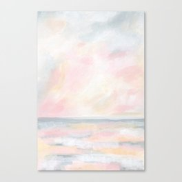 Patience - Pink and Gray Pastel Seascape Canvas Print