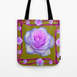 PINK-BLUE TINGED ROSES ON KHAKI COLOR Tote Bag