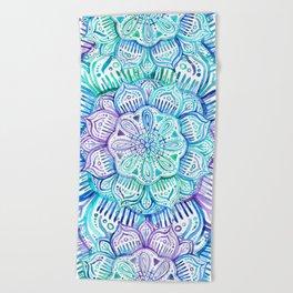 Iridescent Aqua and Purple Watercolor Mandala Beach Towel