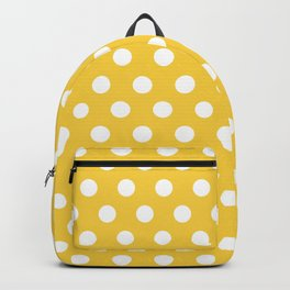 White Polka Dots on Yellow Backpack