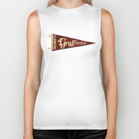 gryffindor Biker Tanks featuring Gryffindor 1948 Vintage Pennant by Andy Pitts