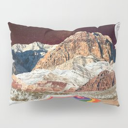 Trippy 1960s Stars and Moon Retro Red Rock Canyon Collage Milky Way Galaxy Colors Pillow Sham