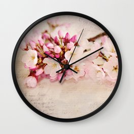 cherry blossoms with typography Wall Clock
