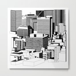 Hong Kong Black and White Metal Print