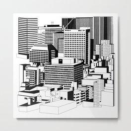 Hong Kong Black and White Metal Print