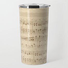 vintage beige music notes Travel Mug