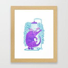 Armadillo shower time Framed Art Print