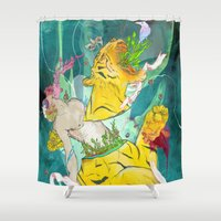 archan nair Shower Curtains featuring Unborn Moment by Archan Nair