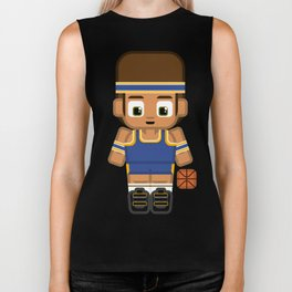 Basketball Blue and Yellow Biker Tank