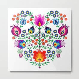 Folk Pattern - Flower Metal Print
