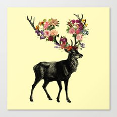 Spring Itself Deer Floral (Cream) Canvas Print