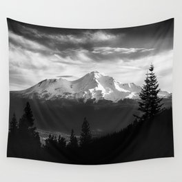 Mount Shasta Morning in Black and White Wall Tapestry