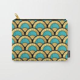 Duck Egg Green Art Deco Fan Pattern Carry-All Pouch
