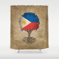 philippines Shower Curtains featuring Vintage Tree of Life with Flag of Philippines by Jeff Bartels