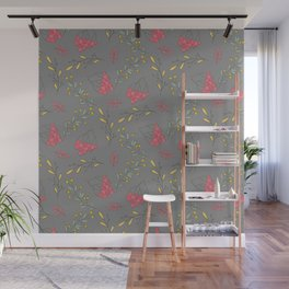 Fall magenta gold yellow mauve gray autumn floral Wall Mural