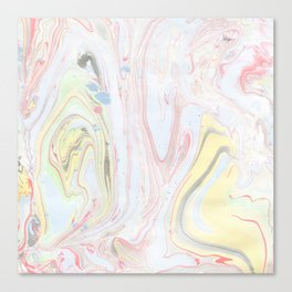 Abstract hand painted watercolor pastel colors marble Canvas Print