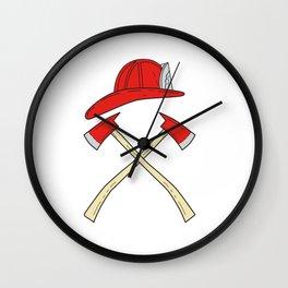Fireman Helmet Crossed Fire Axe Drawing Wall Clock