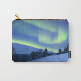 Aurora borealis over a road through winter landscape, Finnish Lapland Carry-All Pouch