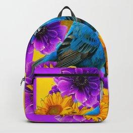 BLUE BIRDS SUNFLOWERS PURPLE FLORA ART Backpack