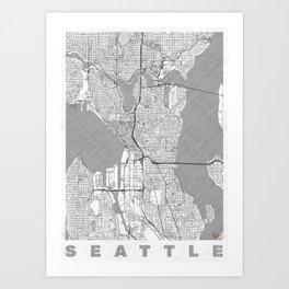 Seattle Map Line Art Print