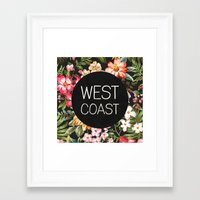 west coast Framed Art Prints featuring West Coast by Text Guy