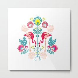 Folk Flamingo Metal Print