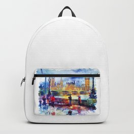 London Rain watercolor Backpack