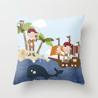 pirates Throw Pillows featuring pirates by elisapesteguia