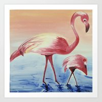 flamingos Art Prints featuring FLAMINGOS by ArtSchool