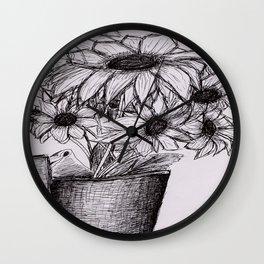 Sunflower Sketch Wall Clock