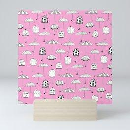 Happy Umbrellas Pattern - pink Mini Art Print