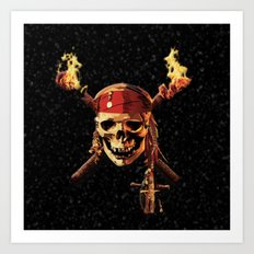 Pirates Skull Of Fire Art Print