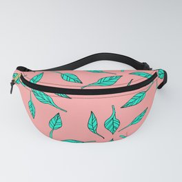 Modern summer tropical turquoise palm tree exotic leaf pattern on pink Fanny Pack