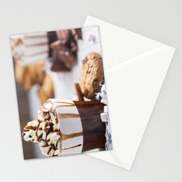 Messy hot chocolate, cream and marshmallows and a choc-chip cookie Stationery Cards