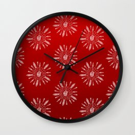 Red Aztec Ombre Pattern Wall Clock