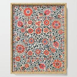 Shakhrisyabz Suzani  Uzbekistan Antique Floral Embroidery Print Serving Tray